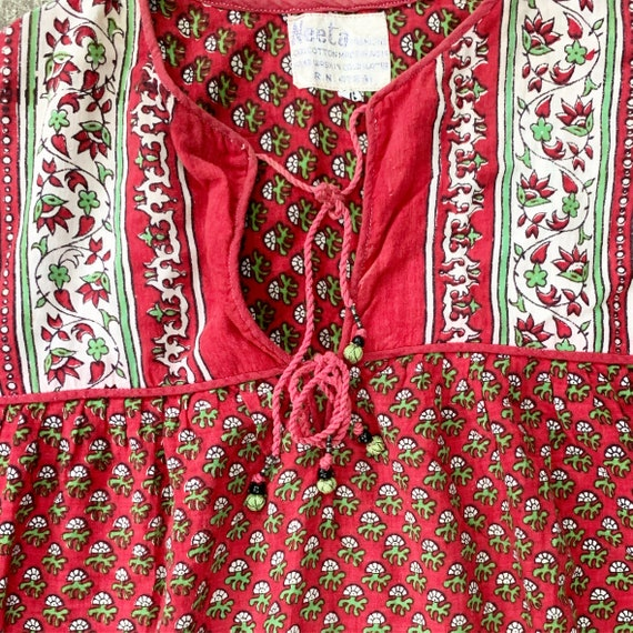 Vintage India Cotton Gauze  Dress , Indian Cotton… - image 4