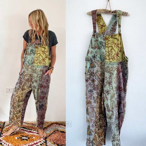 Vintage India Cotton Embroidered Overalls , Indian Cotton Jumpsuit , Embroidered Overalls