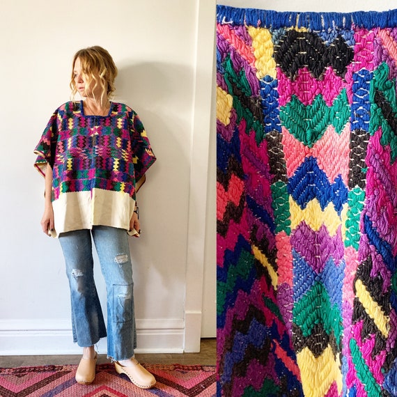 Vintage Huipil Top, Ethnic Embroidered Poncho , Guatemalan Huipil