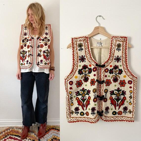 Vintage Ethnic Embroidered Vets, Bird Floral Vest , India Vest