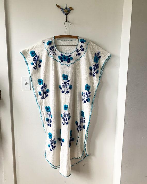 Vintage Embroidered Mexican Caftan, Oaxaca Kaftan , Crinkle Cotton Caftan