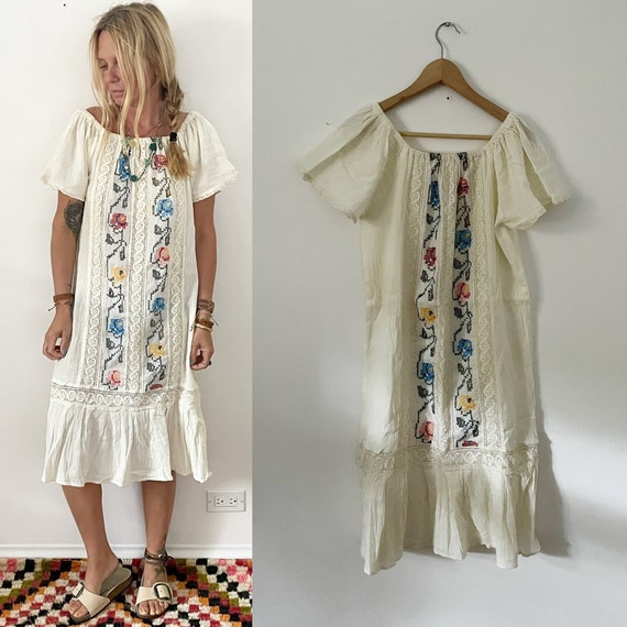 Vintage 60s OAXACA Hand Embroidered Tunic Dress , Cross Stitched Mexican Maxi Dress