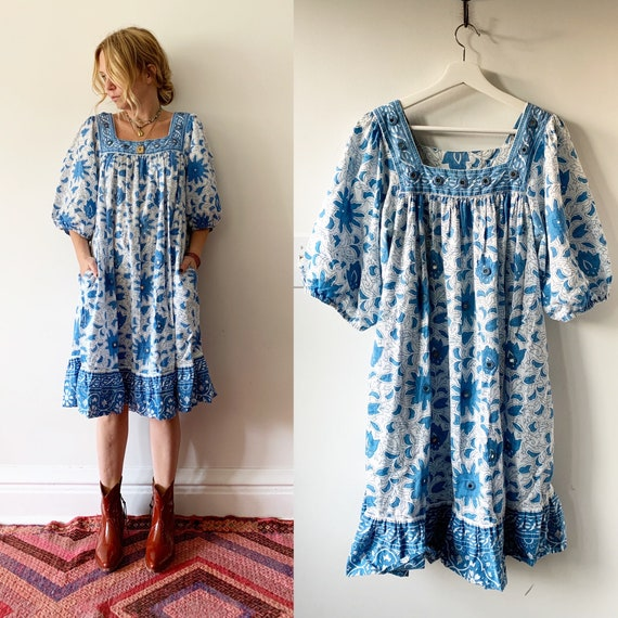 Vintage 70s Ramona Rull Embroidered Kaopftan  , Mirrored Block Print Dress , India Block Print Midi