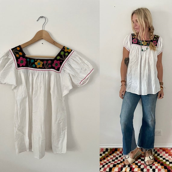 Vintage Hand Embroidered Folk Blouse , Hand Stitched Ethnic Top