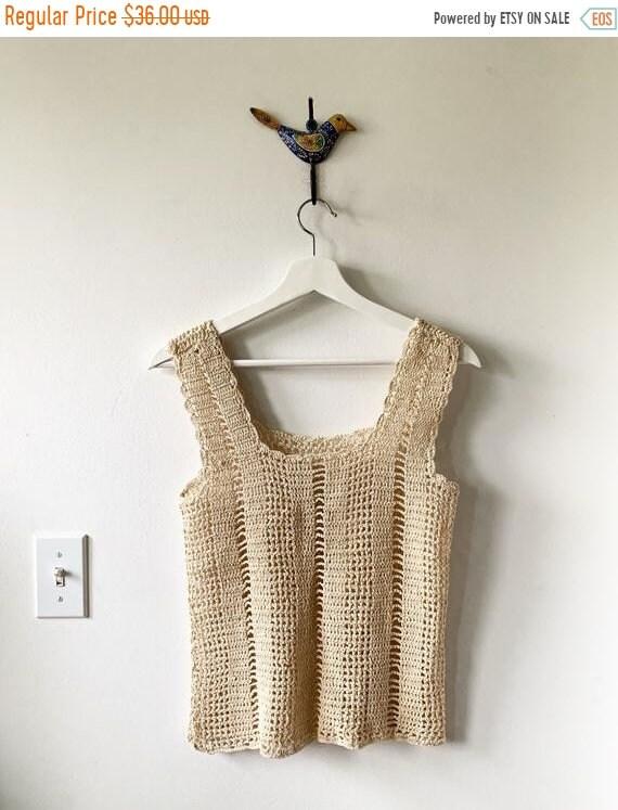 SALE 20% OFF Vintage Crochet Top  , Crochet Cotton Tank