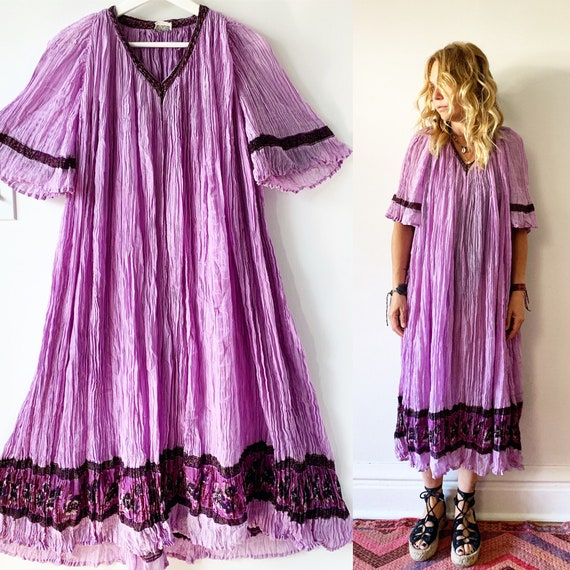 Vintage 70s India Cotton Gauze Dress , BOHO Hippie India Dress , Sheer India Dress , India Gauze Dress
