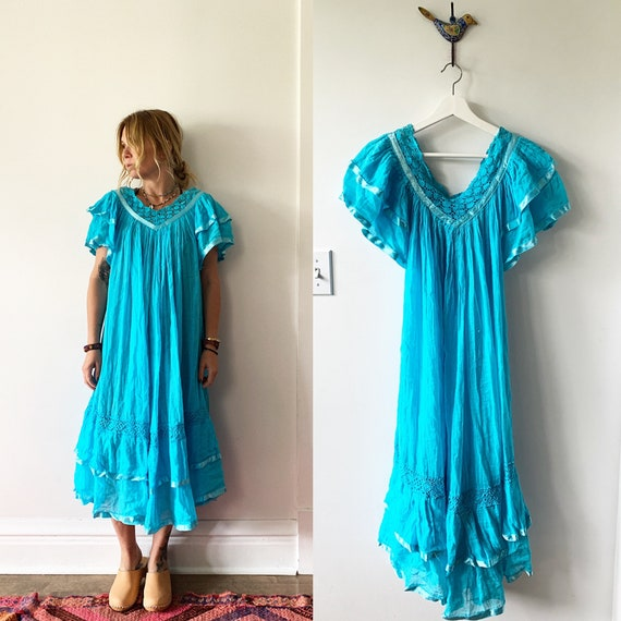Vintage Mexican Gauze Dress, Ethnic Lace Dress , Crochet Cotton Dress