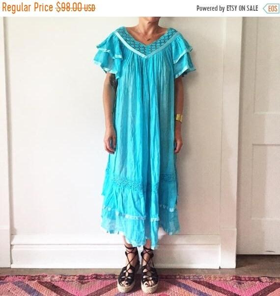 40% OFF SALE Vintage Mexican Gauze Dress, Ethnic Lace Dress , Balloon Sleeve Dress , Crochet Cotton Dress