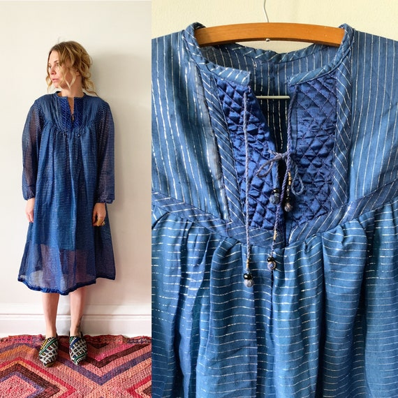 Vintage India Cotton Gauze Dress , Metallic Gauze Dress , India cotton Gauze Dress