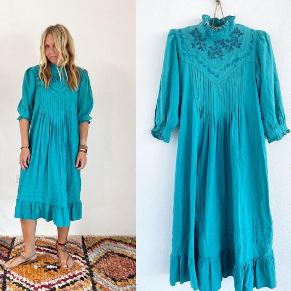 Vintage  Indian Cotton Dress , Embroidered Dress, Sun Dress , Boho Midi Dress