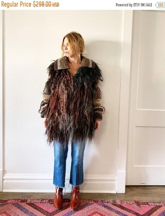 SALE 20% OFF Vintage Shaggy Wool Sweater Coat , Fiber Art Knit , Curly wool Sweater Coat