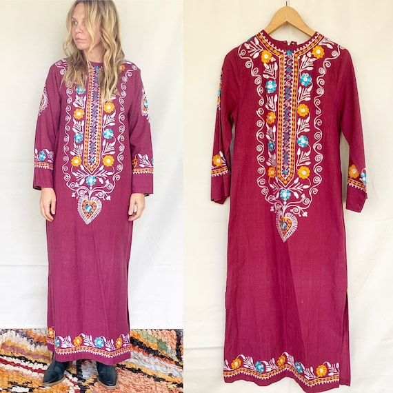 Vintage Embroidered Cotton Kaftan , Pakistani Cott