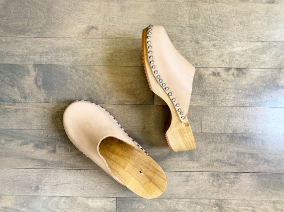 Handmade Wooden Natural Leather Clog sz 7 DEADSTOCK