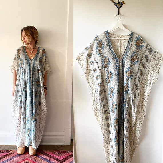Vintage 70s Indian Cotton Gauze Dress ,  Indian Metallic Gauze Dress , Lurex Cotton Indian Dress