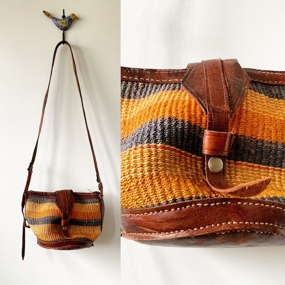 Vintage Sisal Tooled Leather Bag , Ethnic Straw