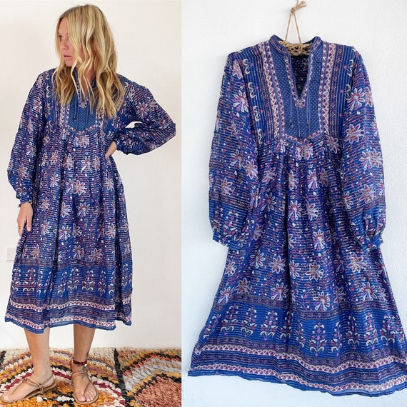 Vintage India Cotton Gauze  Dress , Indian Cotton Kaftan , Lurex Gauze Maxi Dress
