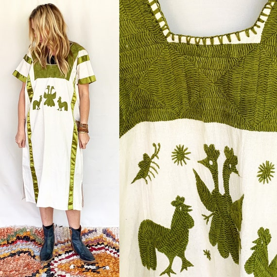 Vintage Hand Embroidered Mexican Huipil Dress , Bi