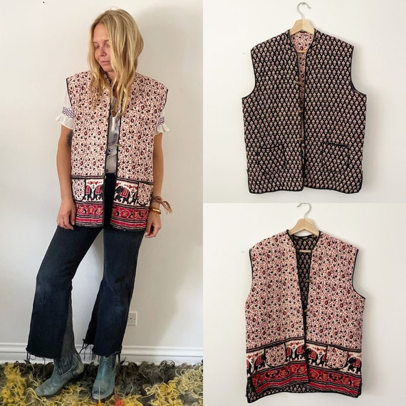 Vintage Indian Cotton Reversible Vest , India Block Print Vest