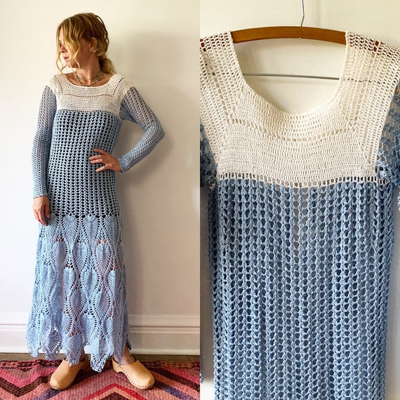 Vintage Crochet Maxi Dress , Vintage Knit Dress