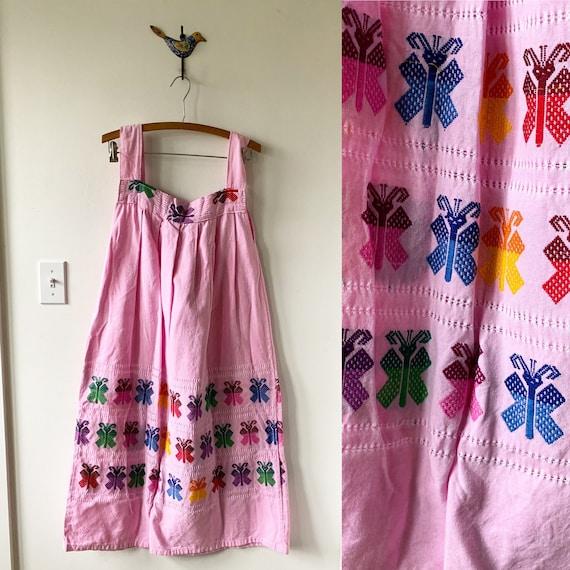 Vintage Hand Loomed Guatemalan Dress , Hand Loomed Butterly Dress , Cotton Maxi Dress , Ethnic Kaftan