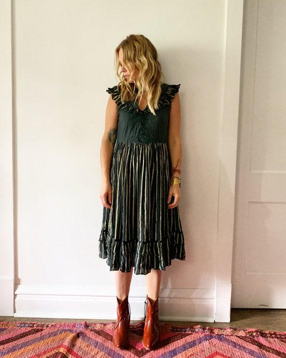 Vintage Gauze Dress,  Black Ruffled Dress