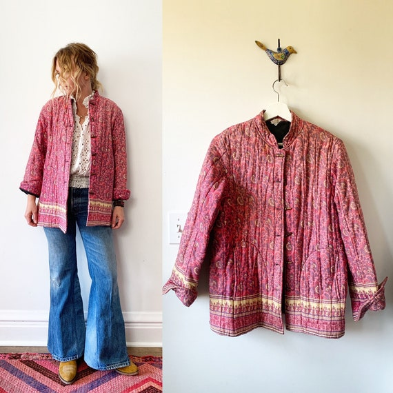 Vintage 70s Block Print Jacket , Quilted Indian Jacket