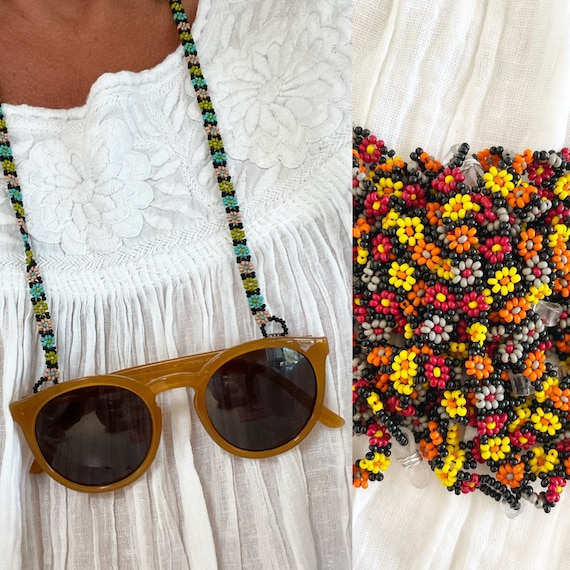 Hand Beaded Mexican Eyewear Mask Chain , Sunglasses Seedbed Chain , Floral Beaded  Eyeglass Chains , Daisy Bead Mask Chain , Bead Chains