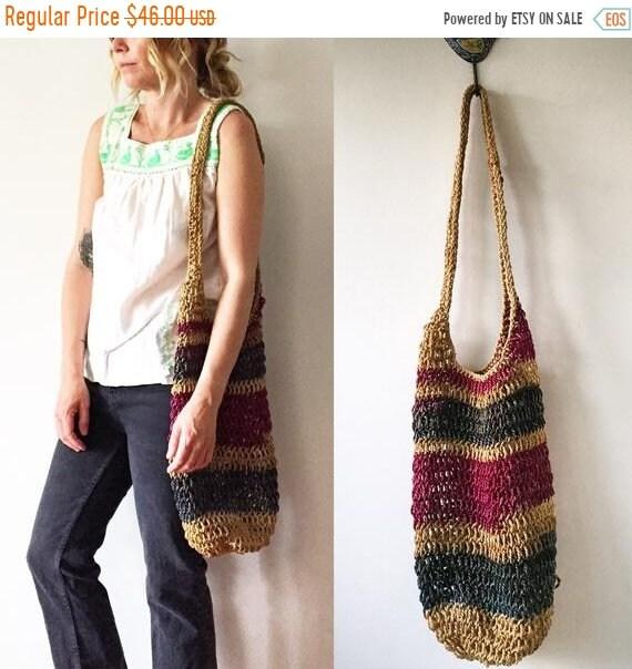 SALE 20% OFF Vintage Net Bag , Woven Jute Bag , Summer Bag