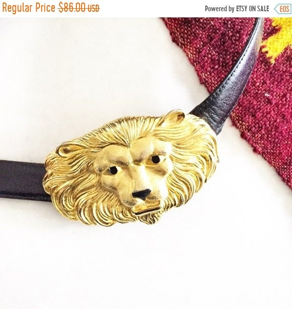 SALE 20% OFF Vintage Lion Head Belt , Oversize Metal Head Belt , Statement Belt