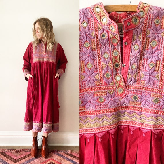Vintage Embroidered Indism Dress , Mirrored India dress