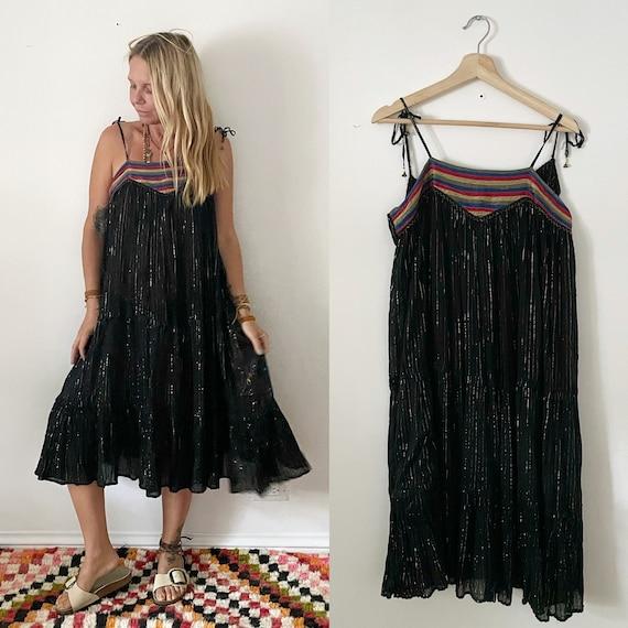 Vintage 70s Rare Black PHOOL Indian GauzE Lurex Spaghetti Strap Dress , Indian Lurex Sun Dress , Phool Dress