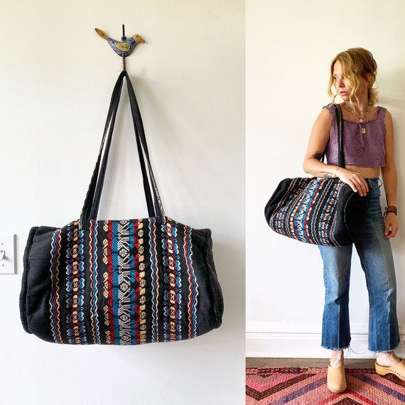 Vintage Ethnic Woven Duffle Bag, Guatemalan Weekender