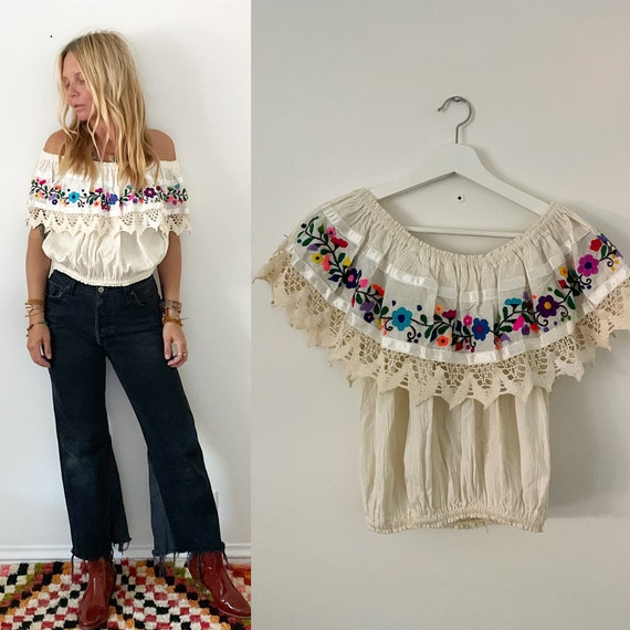 Vintage Mexican OFF Shoulder Top , lace Trim Off Shoulder Blouse ,  BOHO Top