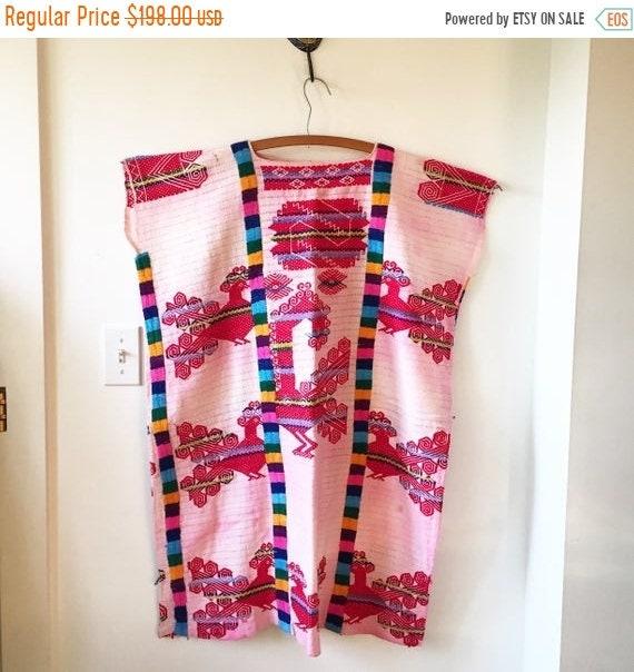 SALE 20% OFF Vintage 60s Hand Embroidered Mexican Kaftan , Oaxaca Dress , Mexican Huipil Kaftan