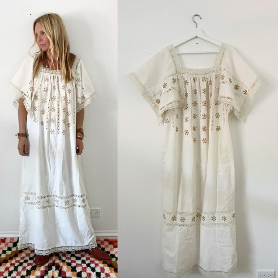 Vintage Mexican Gauze Laced Kaftan , Mexican Maxi Dress , Embroidered White Dress