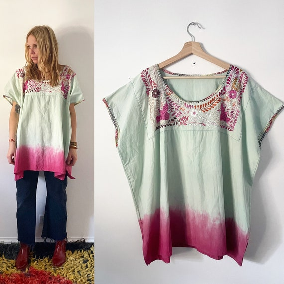 Vintage Mexican Huipil Top, Huipil Tunic , Embroid