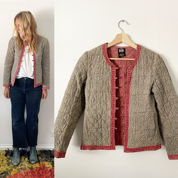 Vintage Indian Quilted Embroidered Jacket , Indian Padded Jacket
