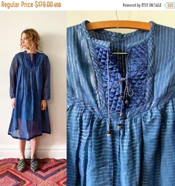 SALE 20% OFF Vintage India Cotton Gauze Dress , Metallic Gauze Dress , India cotton Gauze Dress