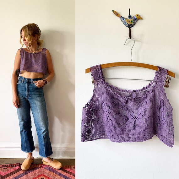 Vintage Crochet Top  , Crochet Cotton Blouse