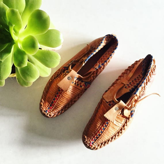 Vintage Ethnic Woven Moccasins , Leather Moccasins