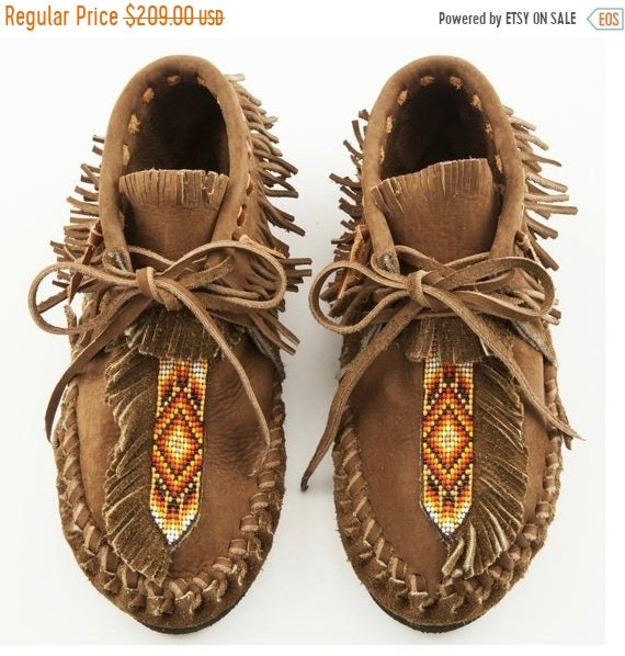 SALE 20% OFF Handmade Leather Beaded Moccasins , Leather Moccasin , Ethnic Moccasin , Handmade Shoes sz 8