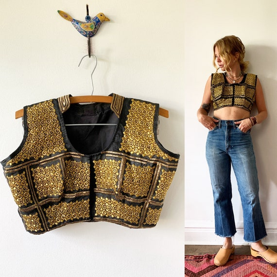 Vintage Hand Embroidered Indian Silk Crop Top , India Top