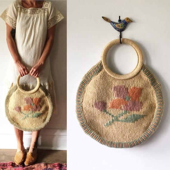 Vintage Sisal Market Tote, Beach Bag, Floral Sisal Bag