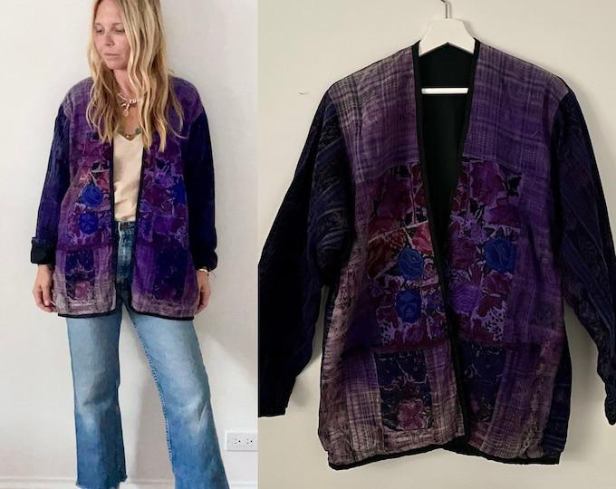 Vintage Ethnic Guatemalan Jacket , Flower Embroidered Coat , Ethnic Kimono Jacket , Ikat Jacket