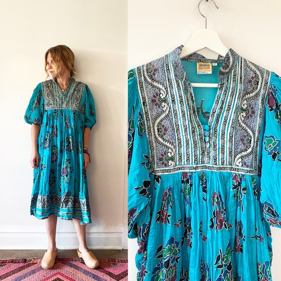 Vintage 70s Cotton Gauze Dress , BOHO Hippie India Dress , Indus Dress