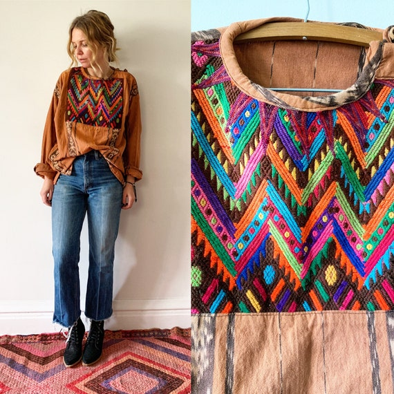 Vintage Guatemalan Ikat Top , Embroidered Ethnic Top , Embroidered  Blouse