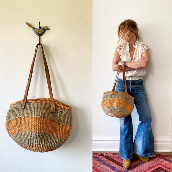 RESERVED//Vintage Sisal and Leather Market Bag , Ethnic Straw Straw Bag
