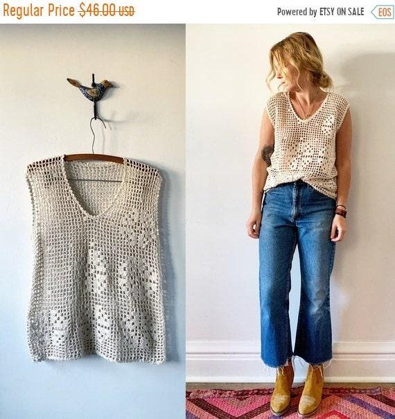 SALE 20% OFF Vintage Crochet Top  , Crochet Cotton Blouse