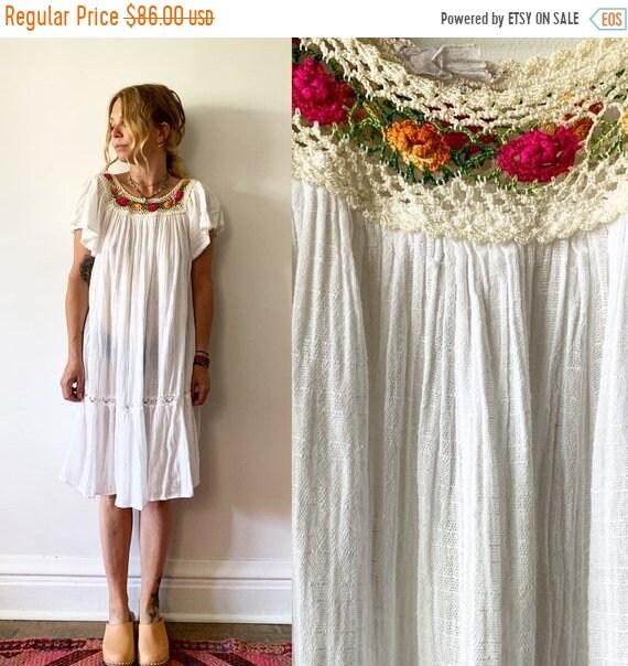 40% OFF SALE Vintage White Gauze Dress, Ethnic Lace Dress , Balloon Sleeve Dress