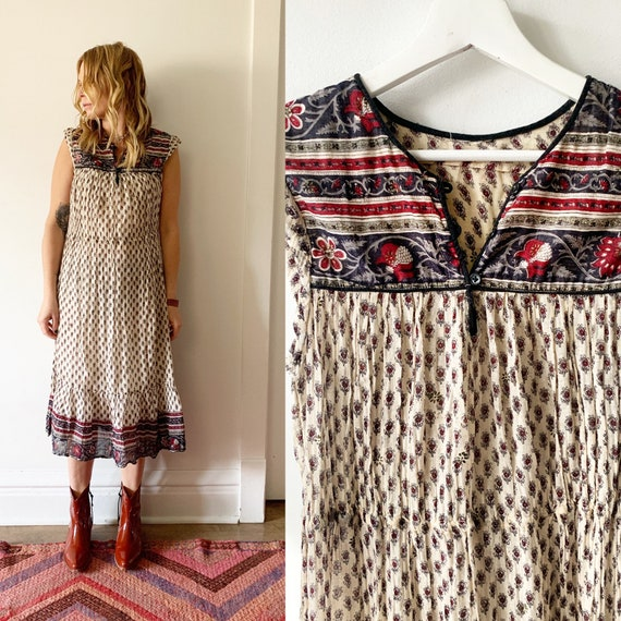 Vintage 70s Block Print Dress , Short Sleeve Indian Cotton Gauze Midi Dreas